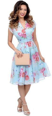 Hell Bunny 1950s Style Light Blue Floral Cap Sleeve Bloomsbury Chiffon Swing Dress