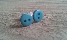 Teal Button Stud Earrings