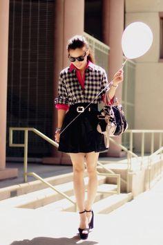 Celine wedges, Miu Miu bag with Zara Skirt and Madewell plaid shirt
