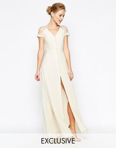 Jarlo Lucia Button Through Maxi Dress With Lace Shoulders