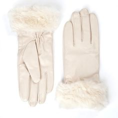 'Lynette' Cream Leather Gloves ($35) ❤ liked on Polyvore featuring accessories, gloves, cream, faux leather gloves, lined gloves, leather gloves, palm gloves and synthetic gloves