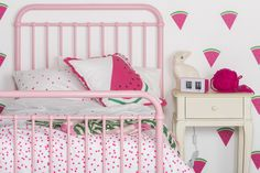 Incy Interiors Polly Bed. Watermelon wall decals.