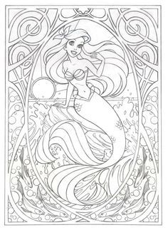 Coloring Page For Later Or This Art Nouveau Ariel By Jennifer Gwynne Oliver Illustration