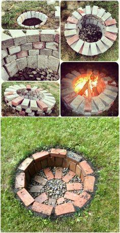 Diy Fire Pit, Fire Pit Backyard, Garden Fire Pit, Backyard Projects, Garden Projects, Backyard Ideas, Garden Ideas, Diy Projects, Patio Ideas