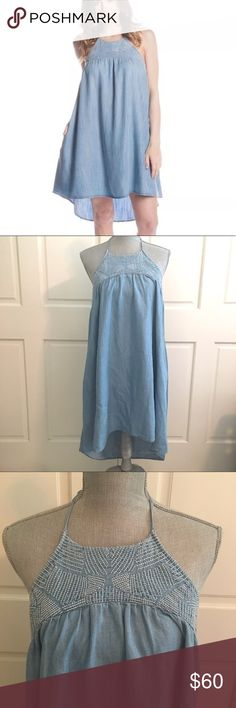 """Cloth & Stone Bella Dahl Embroidered Dress New Cloth and Stone Bella Dahl Embroidered High/Low Chambray Dress Sz Medium. Designed for a contemporary fit Halter neck with tie closure, sleeveless, embroidered chest Two side slit pockets, pullover style Approx. 27"""" from back of neck to hem Anthropologie Dresses High Low"""