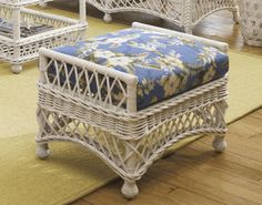 Bar Harbor Wicker Ottoman made by @. Amazing like our sunroom furniture.