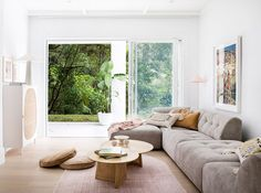 three lovely birds. | sfgirlbybay Modern Mediterranean Homes, Three Birds Renovations, White Paint Colors, White Paints, Villa, Large Sofa, Timber Flooring, Decoration, Living Spaces