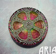 CZECH GLASS BUTTON: 41mm Nouveau Wheel Handpainted Czech Glass Button, Pendant, Cabochon (1)