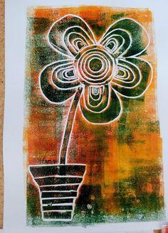 Tvoříme s dětmi ☺: Květina- tisk z koláže