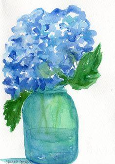 Hydrangeas Watercolors Paintings Original watercolor of blue hydrangeas in Aqua Ball Mason jar, Hydrangea Artwork, floral art, canning jar by SharonFosterArt on Etsy