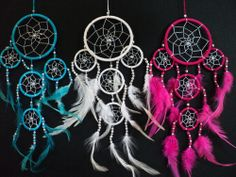 DREAM CATCHER WITH SILVER WEBBING- 9cm WIDE x 35cm DROP-NEW 2012! MANY COLOURS
