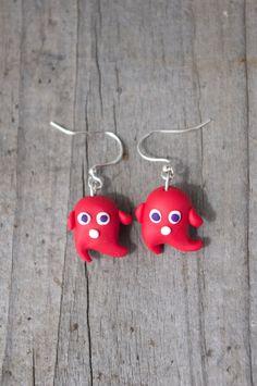 Wispy Wind Monster Polymer Clay Earrings Red by AmigurumiByAli, $12.00