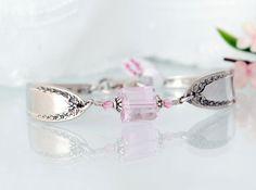 Vintage Spoon Bracelet Silverware Jewelry Pink Ice by mcfmiller, $35.00