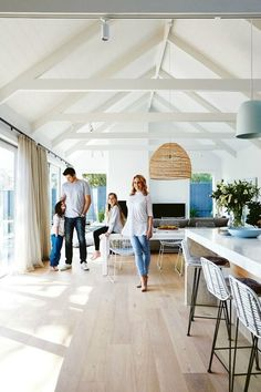 Home Renovations darren-and-dea-home-in-kew-open-for-inspection-inside-out - A house flip with a designer difference. Farmhouse Design, Modern Farmhouse, Farmhouse Style, Farmhouse Kitchens, Farmhouse Interior, Raked Ceiling, Vaulted Ceiling Lighting, Vaulted Ceilings, Ceiling Windows