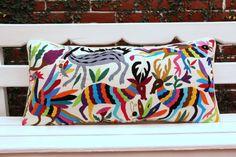 Rainbow colored Lumbar Hand Embroidered Otomi Cushion by CasaOtomi Mexico, Tenango, mexican wedding, textile, mexican suzani, suzani, embroidery, hand embroidered, otomi, www.casaotomi.com, otomi, table runner, fiber art, mexican, handmade, original, authetic, textile , mexico casa, mexican decor, mexican interior, frida, kahlo, mexican folk,  folk art, mexican house, mexican home, puebla collection, las flores, travel tote, boho, tote, handbag, purse, cushion, pillow,