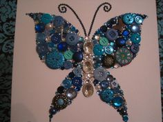 Swarovski Crystal and Button Art Butterfly by StageRightCreations