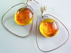 Glass jewelry fused glasssterling silver italian di LaTerraCanta BRIGHT AS THE SUN!!! DISCOUNTS AND BARGAINS!!