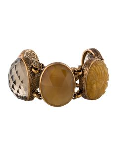 $385.00   Bronze Stephen Dweck link bracelet with stations featuring bezel set faceted yellow quartz, mother of pearl doublet, pink quartz cabochons and toggle closure featuring safety chain.