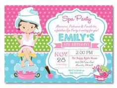 Spa Party Invitation. Spa Birthday Party por happyappleprinting