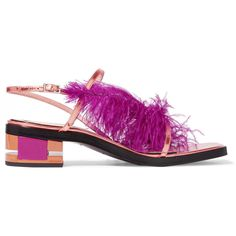 Emilio Pucci Feather-trimmed metallic leather sandals (14.295 RUB) ❤ liked  on Polyvore