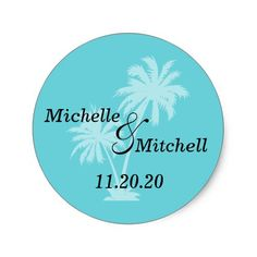 Tropical Palm Trees Wedding Labels (Teal)