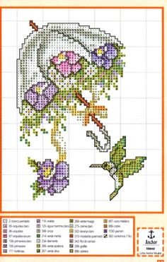 umbrella flowers hummingbird cross stitch