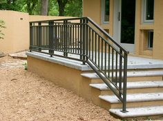Wrought iron deck railing to make your balcony and your home exterior looks so beautiful with that. Our balcony will look elegant when completed with wrought iron railing design. Wrought Iron Porch Railings, Exterior Stair Railing, Outdoor Stair Railing, Front Porch Railings, Stair Handrail, Balcony Railing, Modern Railing, Front Porches, Aluminum Porch Railing