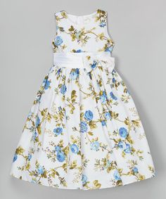 Another great find on #zulily! White & Blue Floral Dress - Toddler & Girls by Shanil #zulilyfinds