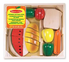 Melissa & Doug Wood Cutting Food. First share Christmas present for the girls. Makes real slicing sounds. How fun!
