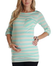 Take a look at this Baby Blue & Beige Stripe Maternity Three-Quarter Sleeve Top by PinkBlush Maternity on #zulily today! $27.99