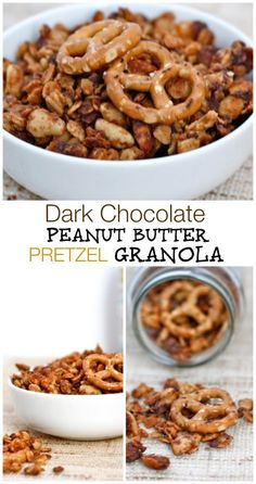 Dark Chocolate Peanut Butter Pretzel Granola- A delicious, healthy, Gluten Free and Vegan granola which is high in fiber, low in sugar and a sweet and salty combination including pretzels and peanut butter!
