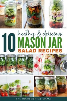 10 Delicious Mason Jar Salad Recipes for Easy Meal Prep - - These 10 recipes for healthy and delicious mason jar salads not only make it eay to meal prep lunche - Mason Jar Lunch, Mason Jar Meals, Meals In A Jar, Mason Jar Recipes, Mason Jar Food, Clean Eating For Beginners, Clean Eating Recipes, Healthy Eating, Clean Eating Lunches