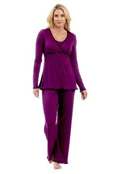 During After Crop Maternity Nursing Pajama Set ...