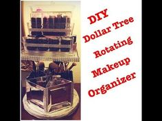 DIY Dollar Tree Elegant Rotating Bling Mirrored Makeup Organizer - Less than $11 - YouTube
