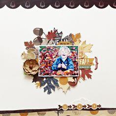 Christin aka Umenorskan scrapper: My Creative Scrapbook November kit 3/4 November Main kit  featuring Echo Park Paper Reflections, Wood veneer words Dear Lizzy, Prima flowers, MME buttons, silk ribbon.