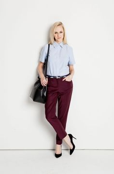 Ways to Wear - My Blue Oxford (#1):  Tucked into oxblood [jeans] for a pop of color contrast.