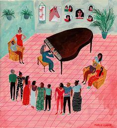 Martha Argerich toca el Concierto para piano no 1 de Tchaikovsky para sus amigos (2017) by María Luque (contemporary), Argentinian (cargocollective)