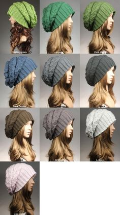 Knit Hat, Women's Knit Hat, Slouchy Hat,Black Knit hat,Slouch Beanie, Winter…