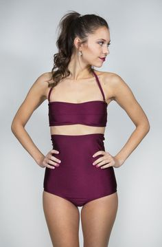 Maroon High Waisted Swimming Suit