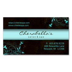 Spa - Salon Flower Elegant Turquoise Business Card