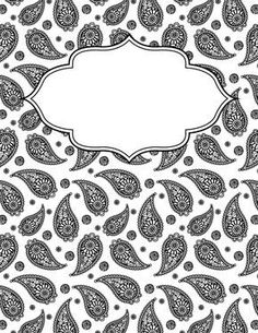 Free printable black and white paisley binder cover template. Download the cover in JPG or PDF format at http://bindercovers.net/download/black-and-white-paisley-binder-cover/