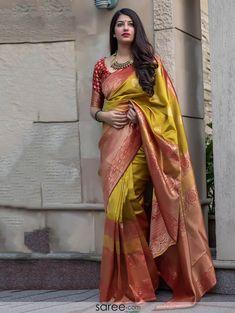 Banarasi Silk Rust And Yellow Traditional Sarees Indian Silk Sarees, Indian Beauty Saree, Ethnic Sarees, Half Saree Designs, Saree Blouse Designs, Saris, Silk Saree Kanchipuram, Stylish Sarees, Saree Look