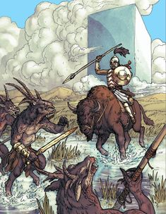 RQG - Storm Khan fighting broo at the Block  1. RuneQuest is part of Chaosium's D100 Basic Roleplaying system. It is intuitive and easy to play: virtually all rolls determining success or failure of a task are determined via the roll of percentile dice.