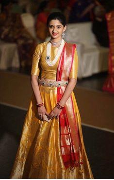 Gorgeous traditional outfit is part of Choli dress - Banarasi Lehenga, Half Saree Lehenga, Lehenga Style, Lengha Choli, Anarkali, Half Saree Designs, Lehenga Designs, Saree Blouse Designs, Lehnga Dress