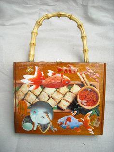 Cigar Box PURSE Oriental Bizarre Japanese Foods Gold Fish DRAGONFLY