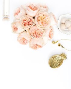 Product Styling, Prop Styling and Photography by Shay Cochrane | http://www.shaycochrane.com | gold, desk, beautiful spaces, office, workspace, gold pineapple, peonies, Hattan Home, peach