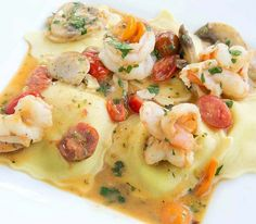 How about my shrimp scampi and ravioli for dinner tonight? It's easy to make and ahh-mazingly delicious!