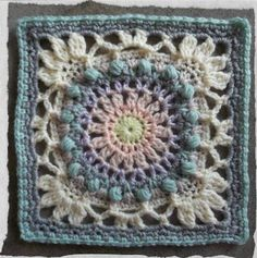 """The Moonlight Owl Pattern Crochet Square Free Pattern by Jen Tyler. """"A simple mandala-style design, which is then squared off with a vintage look border."""" Pattern More Patterns Like This!"""