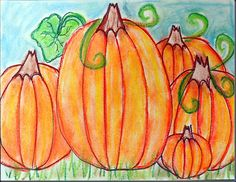 We got out the chalk pastels with second and third grade to create these pumpkin patches. Students had to overlap pumpkins, shade with analogus colors, and overlap the leaves. They loved this and they came out beautiful!