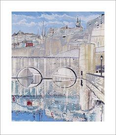 Off-set print by Ben Carter, 'Grund Reflections', 60x70cm, €280 incl. delivery, www.bencarter.eu #art #philharmonie #landscape #painting #bridge